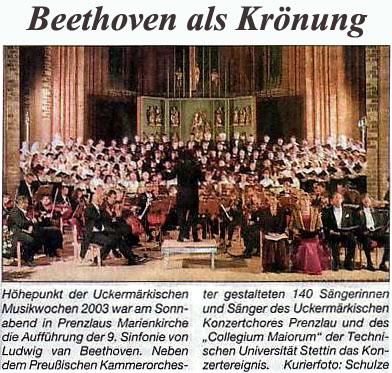 Aufführung von Beethovens IX. Sinfonie 2003 (Foto: Heiko Schulze)